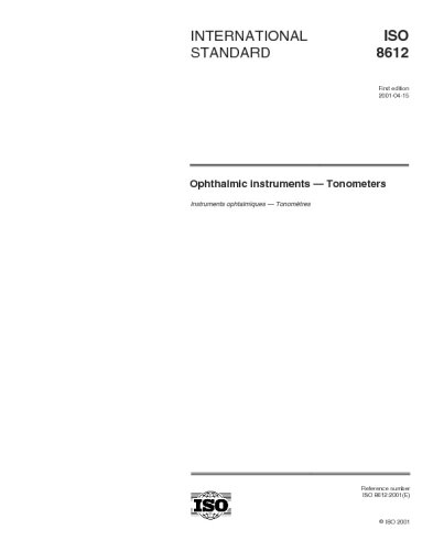 ISO 8612:2001, Ophthalmic instruments -- Tonometers
