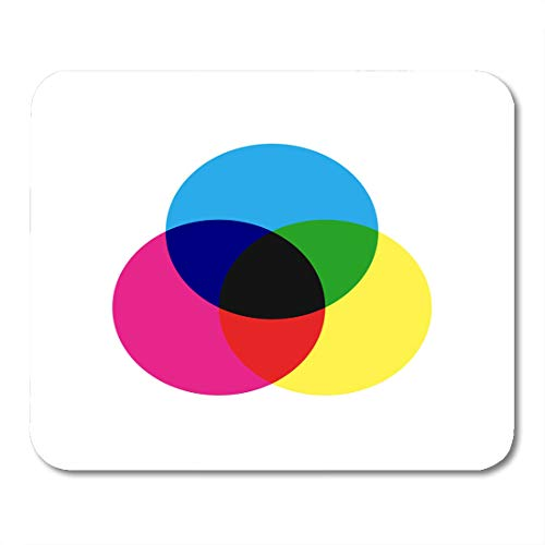 Boszina Mouse Pads Black Graph CMYK Color Model Scheme Three Overlapping Circles in Cyan Magenta and Yellow Blue Chart Mouse Pad for notebooks,Desktop Computers mats 9.5