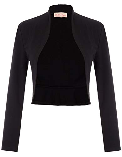 Belle Poque Lady Long Sleeve Bolero Jacket Cropped Shrug Bolero Cotton Cover Up (Black,M)