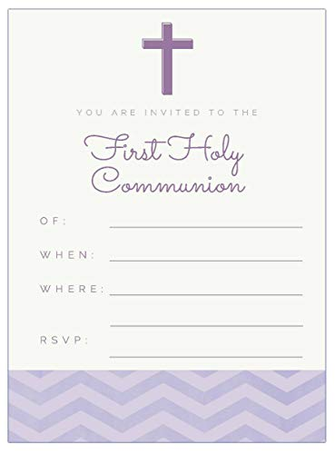 20 First Holy Communion Invitations for Girls | Religious Party Invitation Fill in Blank Cards Invites | with White envelopes | 5