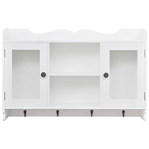 New White Modern Wall Cabinet Storage Rustic Display Shelf Glass Cupboard Kitchen by totoshop
