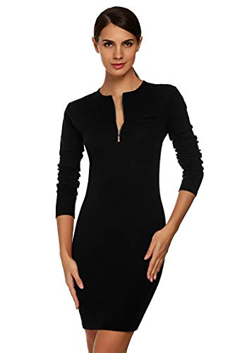 Pinsparkle Womens Fitted Stretch Cotton Henley Neck Mood Sweater Mini Dress -