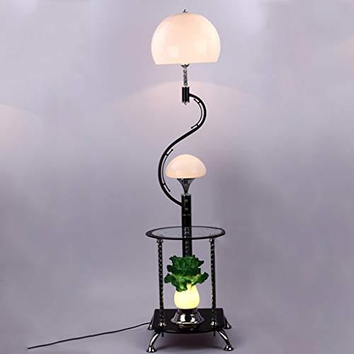 Relaxbx Lamparas de pie Chino Moderno con Mesa de Centro Lampara de pie Mesa de Esquina Col Iluminacion Decorativa (Color: Blanco)