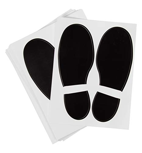 Footprint Stickers - 32-Pairs Footprint Decal Self-Adhesive Stickers for School, Dance Studio, Party, Floor Stickers Party Accessories, Black, 7.1 x 2.6 Inches