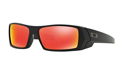 Oakley Men's Gascan Rectangular Sunglasses, Matte Black /Ruby Iridium, 60 mm
