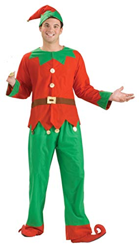 Forum Novelties Men's Simply Elf Costume, Green/Red,