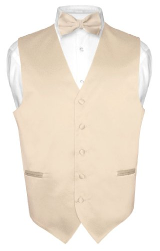 Men's Dress Vest & BowTie Solid Light BROWN Color Bow Tie Set size Med