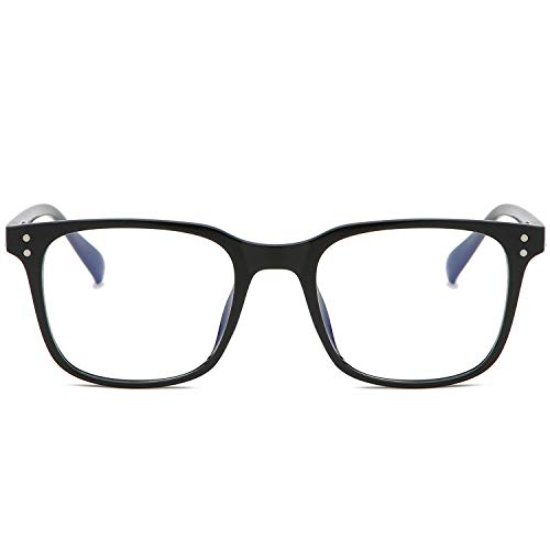 SOJOS Blue Light Blocking Glasses Square Eyeglasses Frame Anti Blue Ray Glasses SJ5032 with Bright Black Frame/Anti-Blue Light ()
