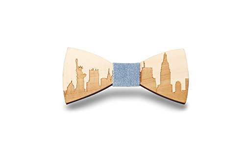 KOOWI Men's Wooden Bow Tie Creative Handmade Wood Necktie Creative Gift (One Size, B)