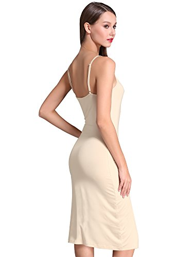 MSBASIC Women's Adjustable Spaghetti Straps Long Cami Slip Dress (Medium, Nude)