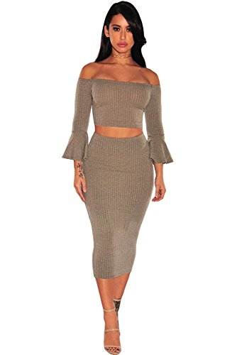 OUR WINGS Coffee Ribbed Knit Bell Sleeves Two Piece Set M