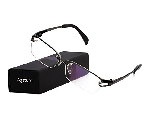 Agstum Pure Titanium Half Rimless Glasses Frame Optical Eyeglasses Clear Lens (Gunmetal