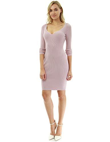 PattyBoutik Women Notch V Neck Ribbed Knit Dress