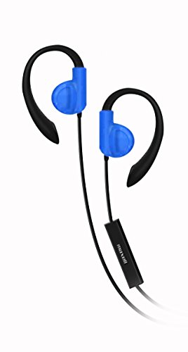 Maxell 199637 Fitness Earhook with Mic, Blue Maxell Microphone