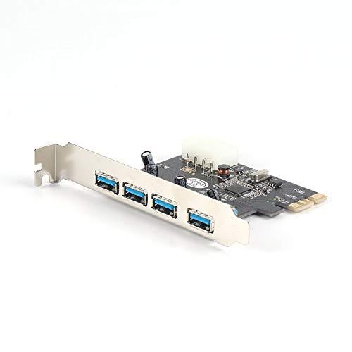 plateado Adaptador de tarjeta PCI PCI-E PCI-E superspeed USB 3.0 de 4 puertos a 5 Gbps superspeed superspeed s/úper r/ápido de alta capacidad para XP para Vista para Win7