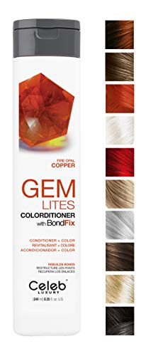 - Celeb Luxury Gem Lites Colorditioner: Fire Opal Copper Hair Color Depositing Conditioner, BondFix Bond Rebuilder, 10 Traditional Colors, Stops Fade. Condition + Color, Cruelty-Free, 100% Vegan