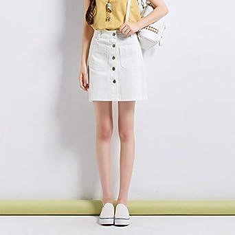 Señoras de Las Mujeres Mini Falda de Mezclilla Coreana Cintura ...