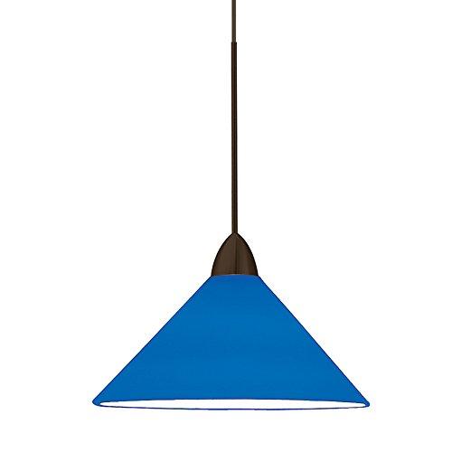 WAC Lighting MP-LED512-BL/DB Jill 5W 12V 3500K LED MonoPoint Pendant with Blue Art Glass Shade, Dark Bronze Finish