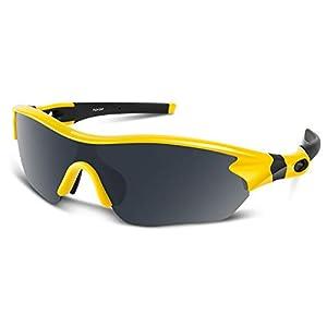スポーツサングラス 偏光レンズ UV400 TAC TR90 紫外線防止 イエロー&ブラック
