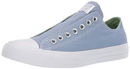 Converse Unisex Chuck Taylor All Star Slip On Sneaker, Indigo Fog/Peat Moss/White, 9 Men's/Women's 11
