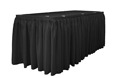 - LA Linen Polyester Poplin Pleated Table Skirt with 15 Large Clips, 21-Feet by 29-Inch, Black