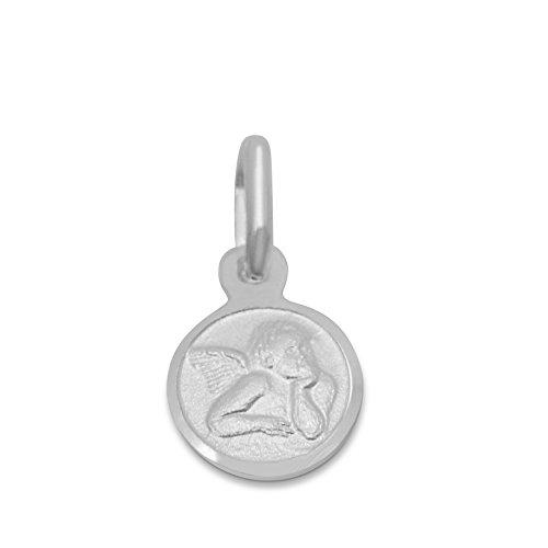 .925 Sterling Silver Guardian Angel Medallion Pendant - Missionary Italian Jewelry for Men & Women - 0.3 Inch ()