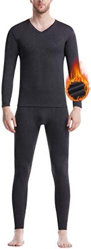 Men's Thermal Underwear Set Microfiber Fleece Long Johns Winter Base Layer Top and Bo