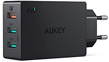 AUKEY Quick Charge 3.0 Cargador Móvil 3 Puertos 43,5W Cargador de Pared con Tecnología AiPower para Samsung Galaxy S8 / Note 8, LG, HTC, iPhone X / 8 / 8 Plus, iPad Pro/ Air, Moto G4 y más