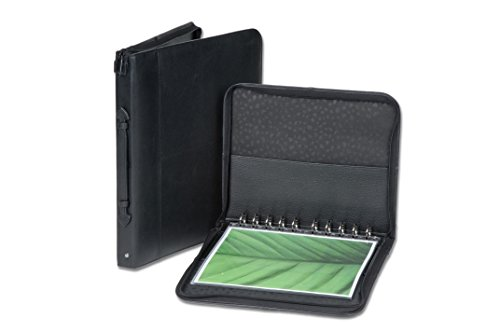 "Florence 8.5""x11"" Premium Leather Portfolio Presentation Case With 10 Included Super Clear Archival Sheet Protectors"