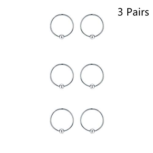 Sterling Silver Cartilage Earrings Silver/Gold/Black Dainty Thin Small Hoop Earring Hypoallergenic Mini/Tiny Huggie Hoops 10/12/14mm Ear Piercing Endless Ball Bead Nose Sleeper for Women (Silver-12mm)