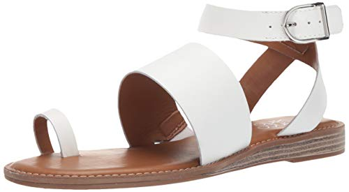Franco Sarto Women's Gracious Flat Sandal, White, 9.5 M US