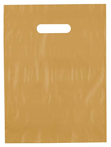 9x12 Gold Die Cut Handle Plastic Shopping Bags 100/cs