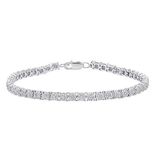 - Dazzlingrock Collection 1.00 Carat (ctw) Round White Diamond Ladies Cluster Tennis Link Bracelet 1 CT, Sterling Silver