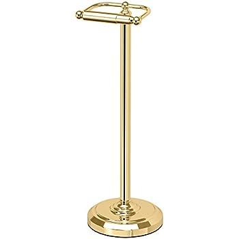 Gatco 1436 Pedestal Toilet Paper Holder, Polished Brass