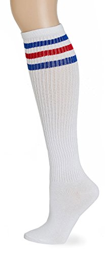 Leotruny Classic Triple Stripes Knee High Tube Socks (White/Blue/Red) (Knee High Tube Socks For Girls)