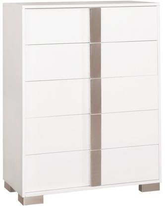 Coaster Traynor Collection 205205 38'' Chest with 5 Drawers Italian Design Polished Chrome Accents Metal Frame Legs and Finger Tip Drawer Pulls in White
