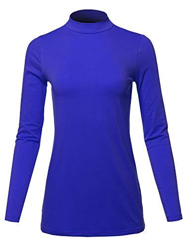 Basic Solid Soft Cotton Long Sleeve Mock Neck Top Shirts Denim Blue Size XL