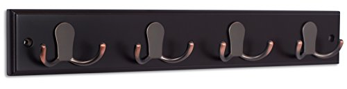 BirdRock Home Dual Hook Coat and Hat Rack | 4 Dual Hooks | 17 Inches | Wall Mount | Decorative Home Storage | Entryway Foyer Hallway Bathroom Bedroom Rail | Oil Rubbed Bronze Hooks | Dark Brown Pine B