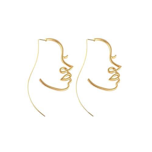 - DIDA Creative Alloy Hollow face Earrings for Women (Golden)