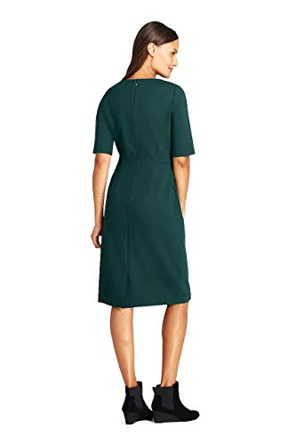 (Lands' End Women's Petite Ponte Knit Sheath Dress with Elbow Sleeves, 8, Rich Spruce)