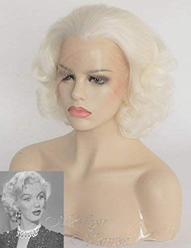 Riglamour Wavy Short Blonde Wig for Women Half Hand Tied Lace Front Synthetic Wigs Heat Resistant 100% Fiber Hair Costume Wigs