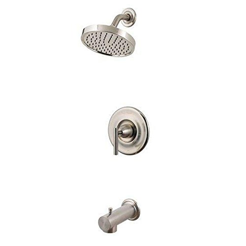 Pfister R89-8NK1 R89-8NK1 Contempra 1-Handle Tub and Shower Combo Trim with Rain Can Shower Head, Brushed Nickel by Pfister