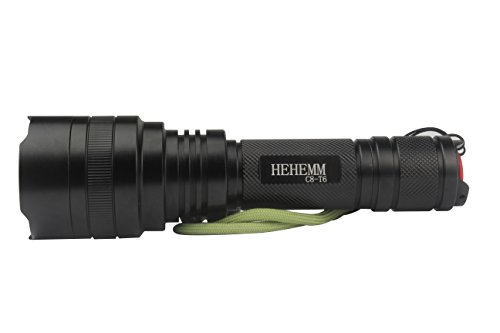 HEHEMM Super-bright 2000 Lumens LED Flashlight Torch Light with Tail Button Switch Controlled by 5-mode, Black by HEHEMM