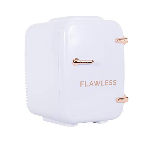 Finishing Touch Flawless Beauty Mini Fridge for Makeup and Skincare with heat and cool settings, White, 4 Liter from FINISHING TOUCH
