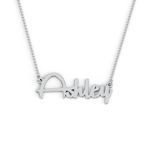 14K White Gold Personalized Name Necklace with a 16