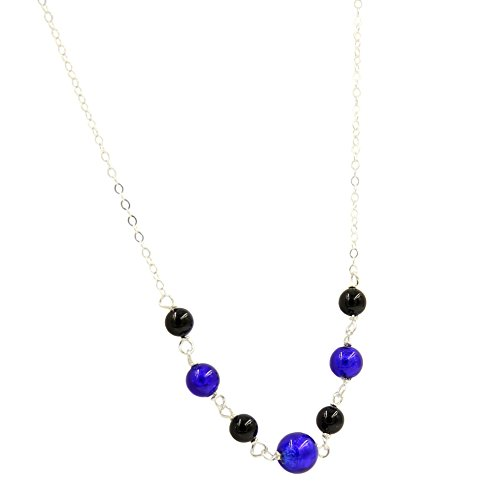 Murano Glass and Swarovski Pearl Necklace .925 Sterling Silver Chain Cobalt Blue Murano and Black Pearl 18 inches long Lobster Clasp Handmade