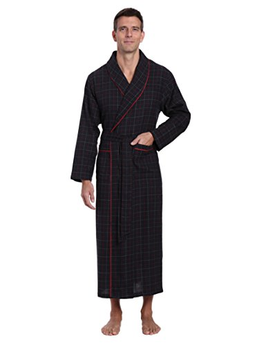 Plaid Flannel Multi - Noble Mount Men's 100% Cotton Flannel Long Robe - Plaid Black-Multi - S-M