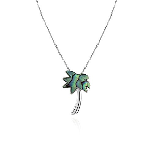 - Sterling Silver Abalone Polished Palm Tree Slide Pendant Necklace