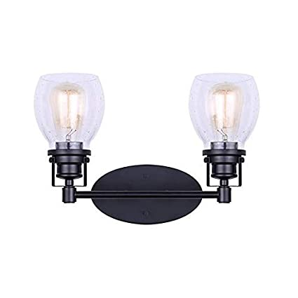 Canarm 4 Lt Vanity Carson Wall Fixture with Seeded Glass and Matte Black Finish