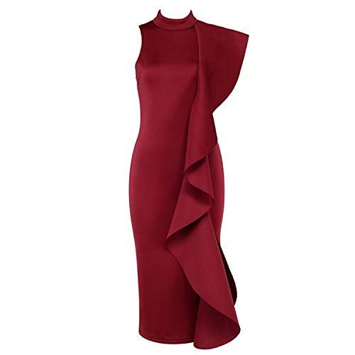 Oudiy Summer White Women Celebrity Party Dress Sexy Wine Red Sleeveless Ruffles Bodycon Club,Wine Red,L